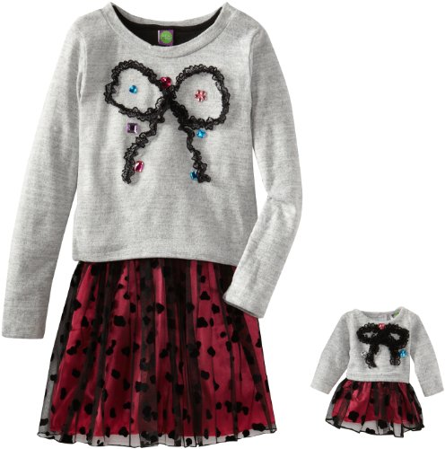 Dollie & Me Girls Sweater Knit Bow Dress with Matching Doll Outfit Size 5 at Sears.com
