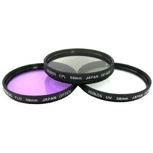 Zeikos 58mm Multi-Coated 3 Piece Filter Kit