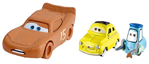 Disney Pixar Cars 3 Lightning McQueen as Chester Whipplefilter, Luigi & Guido with Cloth Die-Cast Vehicle 2-Pack