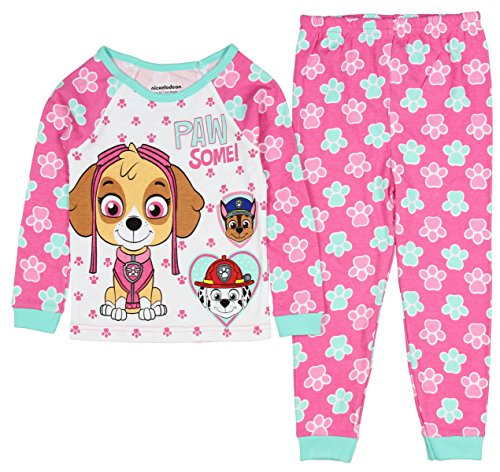 PawPatrol Little Girls Paw Some! Long Sleeve Cotton Pajama Tight Fit