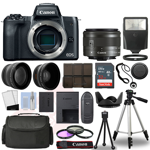 Canon EOS M50 Camera Body Black + 3 Lens Kit 15-45mm IS STM+ 32GB + Flash & More